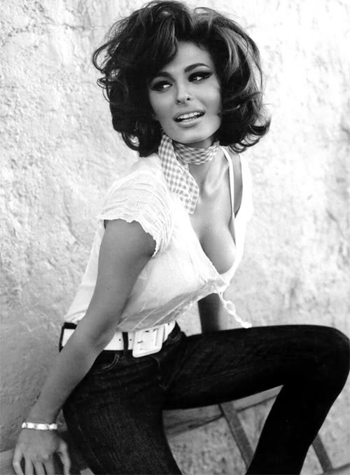 Line Gost in a Guess ad styled as Sophia Loren-- love this haircut