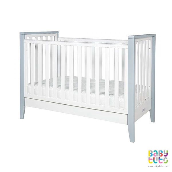 Cuna de madera blanca con gris + colchón, $179.990 (precio referencial) Marca Infanti: http://bit.ly/1JX5P7I