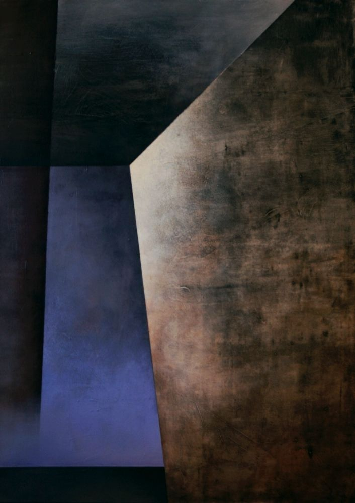 Karolina Jaklewicz, Place III, acrylic on canvas, painting, abstract painting, geometry abstract, polish art, blue, brown, light, space