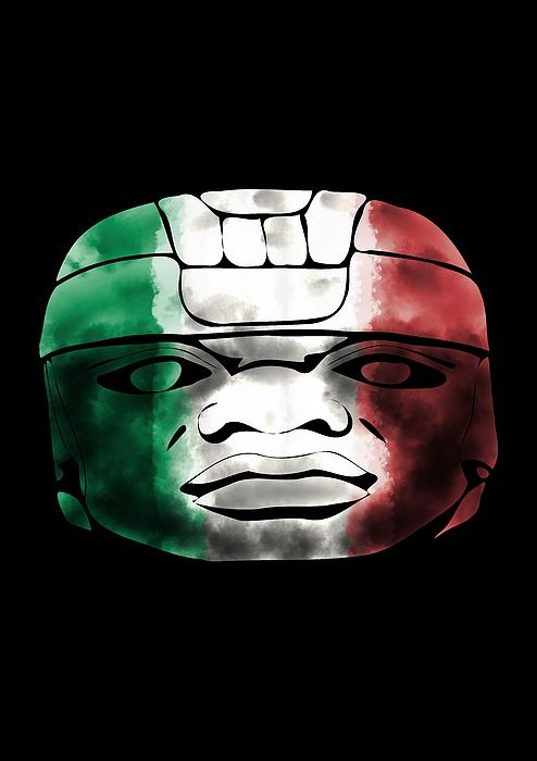 Mexican Olmec in national colors #mexico #fineart #wallart