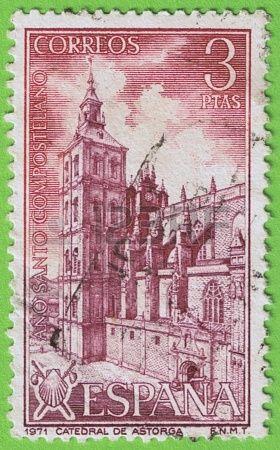 Utiliza sello y matasellos de Correos de España Conmemorativo Año Santo Compostelano 1971 Valor facial 3 pesetas Razón Astorga Catedral de L...