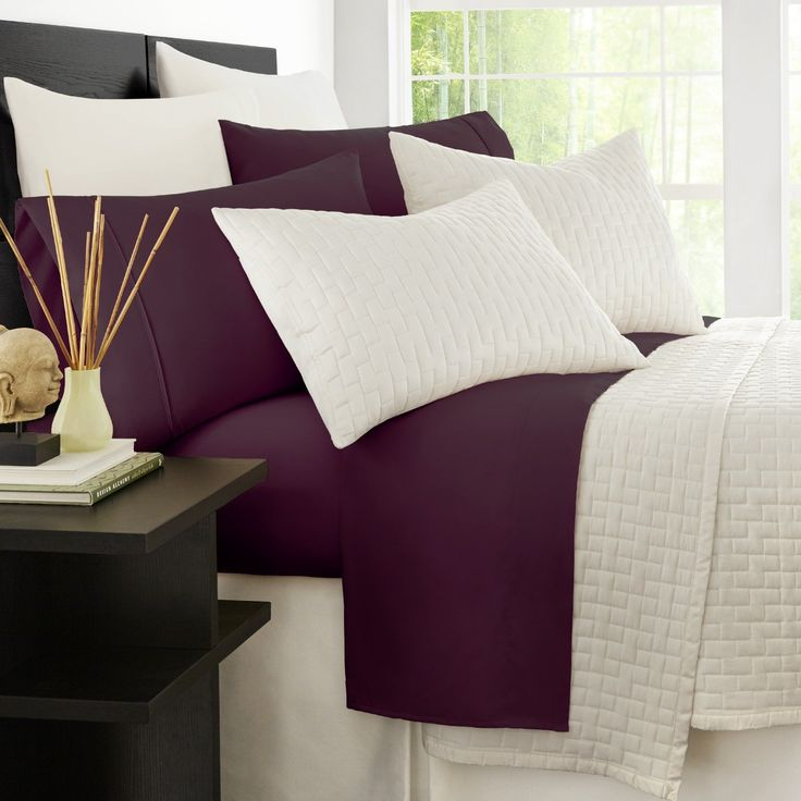 Purple Bedding Ideas - Zen Bamboo Luxury Bed Sheets - Eco-friendly, Hypoallergenic and Wrinkle Resistant Rayon Derived Bamboo - 4-Piece - Queen - Purple at luxcomfybedding.com