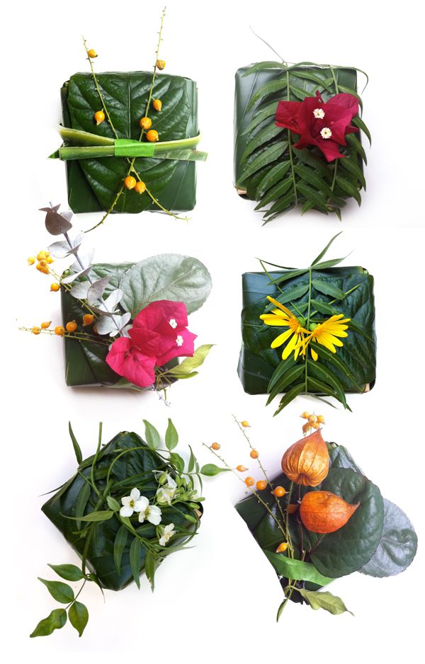 'nature wraps' -- gift wrap from leaves and flowers: Gifts Packs, Gifts Wraps, Diy Gifts, Leaves, Wraps Gifts, Wraps Paper, Gifts Boxes, Flower, Wraps Ideas
