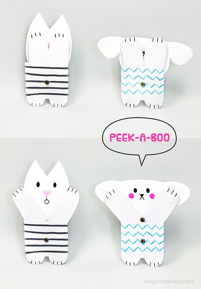 FREE printable peekaboo paper toy #free #printable #kids #diy #crafts