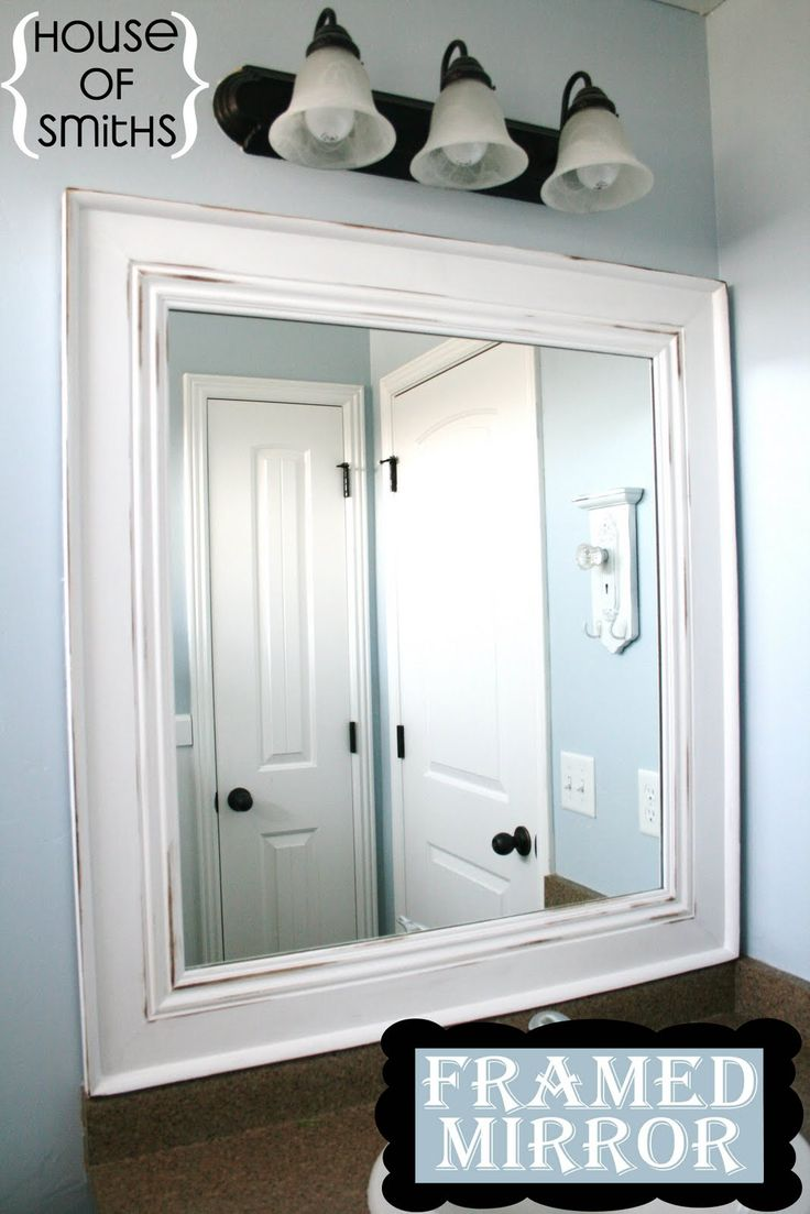 Bathroom mirrors framed 40 inch - Diy Framed Mirror Tutorial Thick Baseboard And Some Corner Round Molding Cut A Frame After Measuring The Mirror Using 45 Degree Anglesattached The