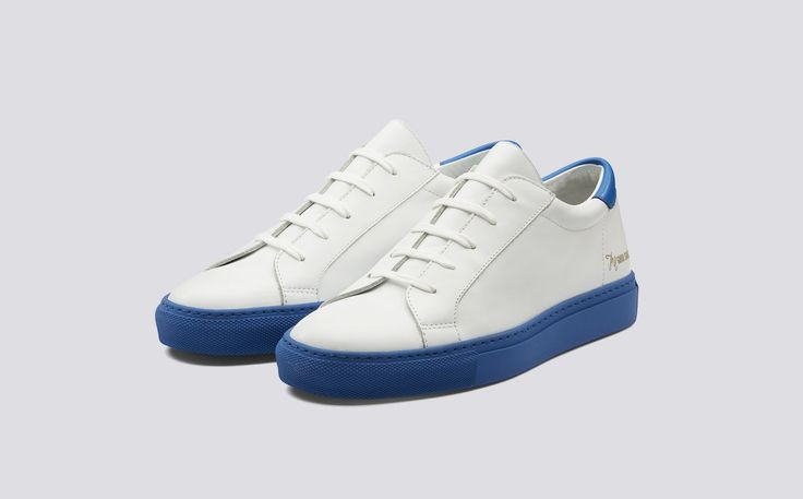 Tennessee Blues | Tim Little x Grenson | Womens Sneaker in White Calf Leather with a Blue Calf Leather Counter on a White Rubber Sole | Grenson Shoes - Three Quarter View