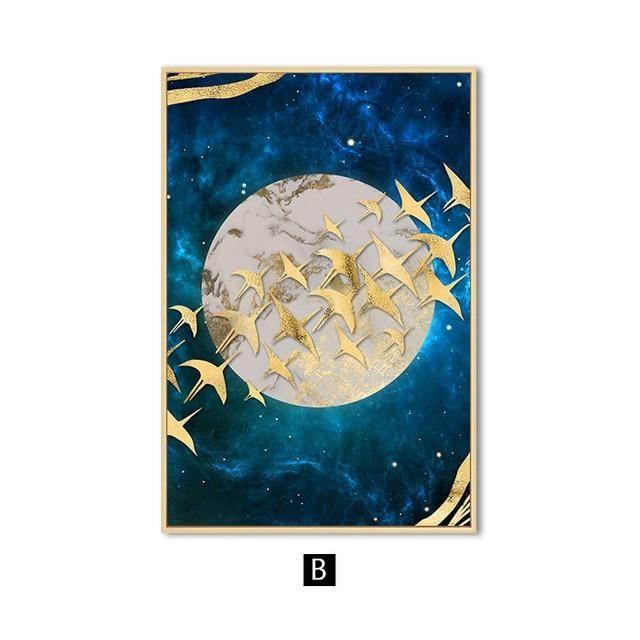 Gleamy Silver Moon Canvas Wall Art In 2020 Moon Wall Art Wall Art Canvas Painting Art