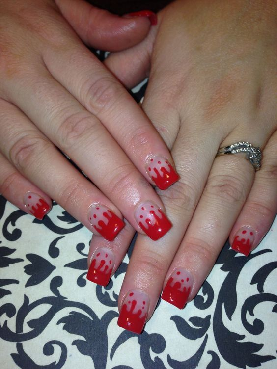 31st october nails, Blood nails, French manicure for kids, Halloween french nails, Halloween nails, Red and beige nails, Red dress nails, Red french manicure