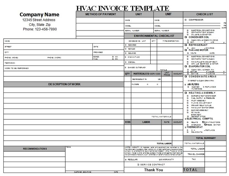 Hvac Repair Invoice Download Hvac Invoice Templates