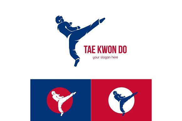 Vector taekwondo logo template. Martial arts badge. Emblem for sports events, competitions, tournaments. Silhouette of a man. by Di Bronzino on @creativemarket
