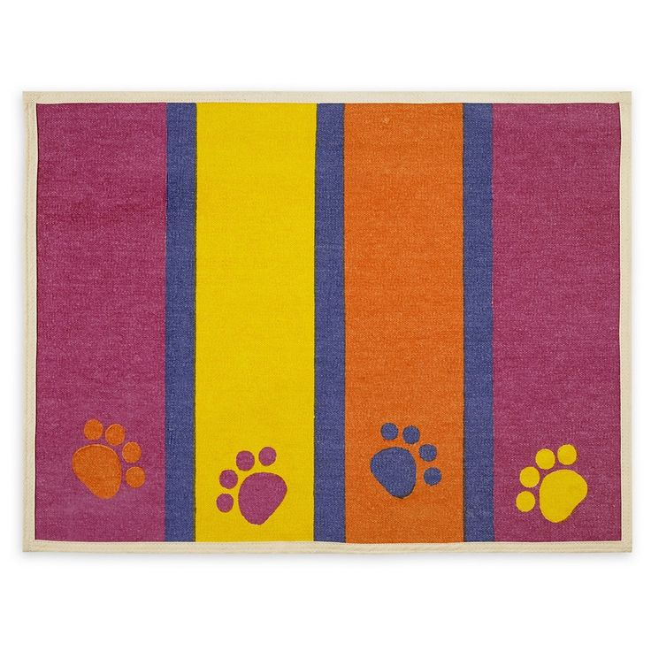 "Buddy's Line Paws & Stripes Fashion Forward Cotton Mat (13""X25.5""), White"