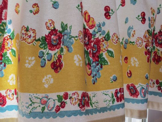 Vintage-look curtain valance is made from 100% cotton decorator weight fabric. Vibrant floral in teal, mustard yellow, and red on a cream. From OneJellyBean on Etsy.
