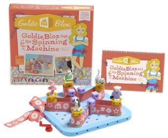 Amazon.com: Goldie Blox and The Spinning Machine: COOLEST TOY FOR GIRLS.  Learn perseverance and building.  Storybook touches on girls tendency toward character-driven play. 6+