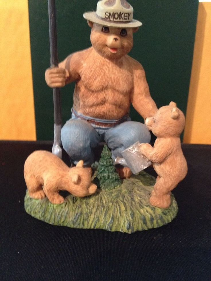 Smokey The Bear Figurine W Cubs Lefton  Smokey the Bear