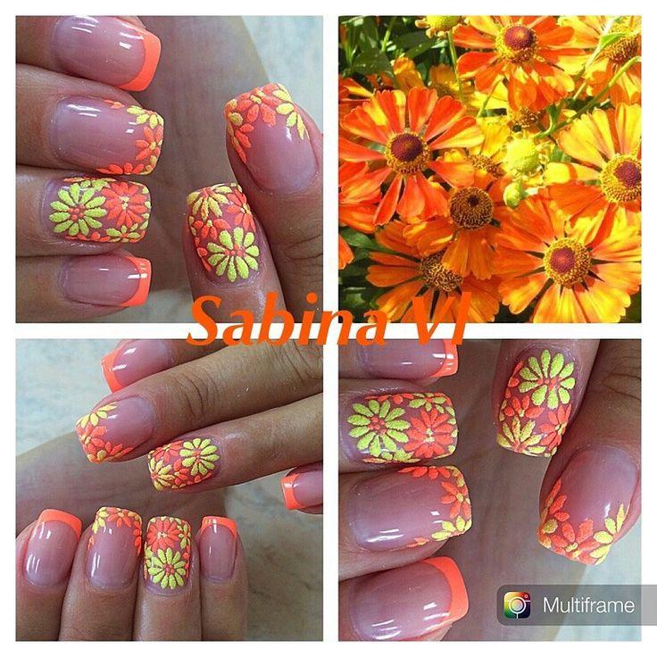 Шеллак. Shellac. Дизайн ногтей - бархатный песок. Цветы.
