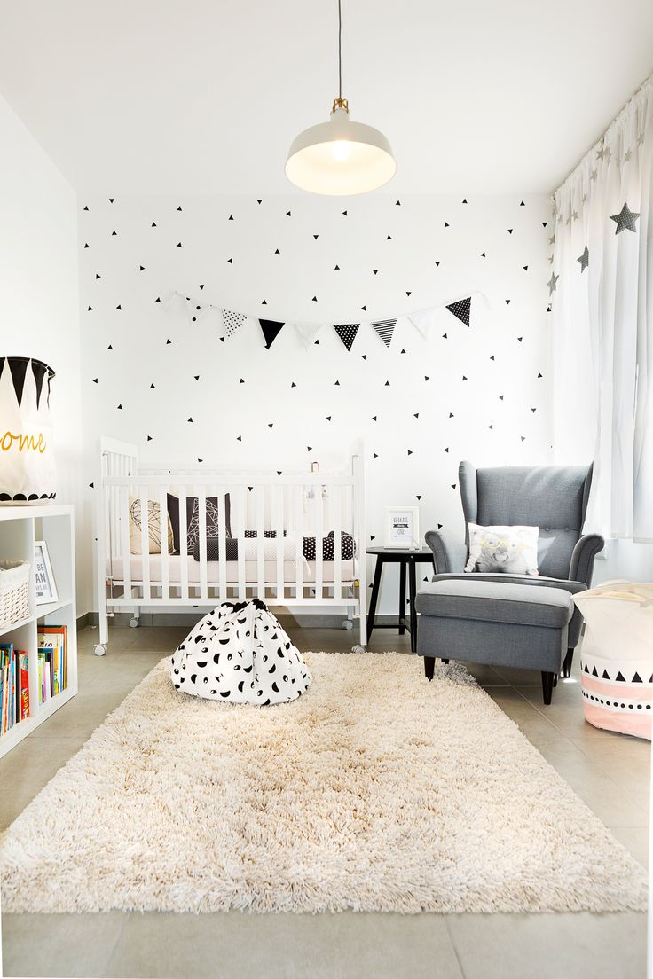 black and white geometric design baby room ikea style by dana shaked                                                                                                                                                                                 More