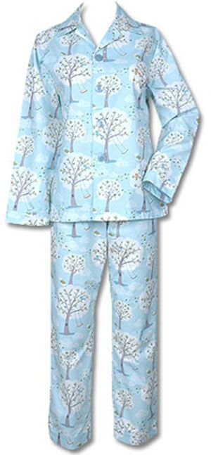 "The Cat's Pajamas Women's ""Windy Morning"" Damask Cotton Pajama Set in Blue $86 - SHOP http://www.thepajamacompany.com/store/18354.html?category_id=11008"