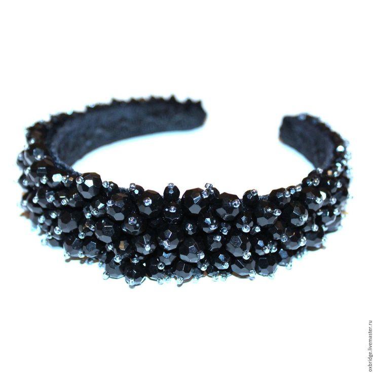 Купить Ободок расшитый Черный лебедь - ободок, ободок для волос, ободок для девушки, подарок девушке