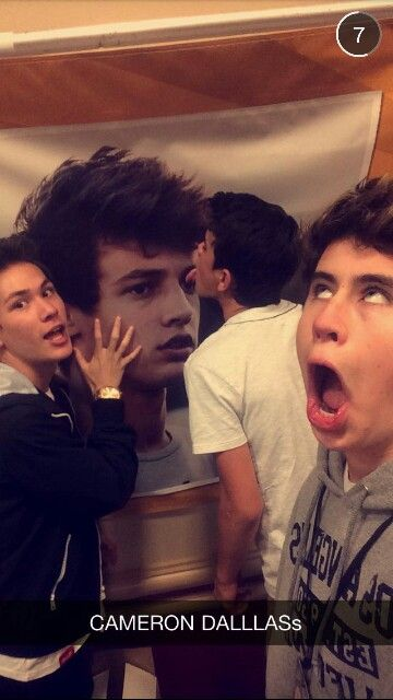 Nash: ER MER GERD ITS CERMRON DERLLAS! Carter: *gasps uncontrollably* OMG ITS CAMERON DALLAS! *starts to cry and breathe uncontrollably* and then there's Hayes: Hey Cam, I'm gonna lick you!