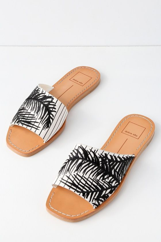 23851adc9 Cato Black and White Embroidered Leather Slide Sandals 2  #blackandwhiteladiesshoes