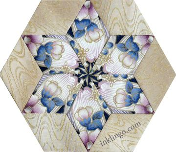 Inklingo Fussy Cut Star (Kaleidoscope or One Block Wonder) - See how to choose fabric for stars and print the shapes on the All About Inklingo blog. http://www.lindafranz.com/blog/fussy-cut-inklingo-stars/
