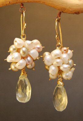 Victorian 6 Mixed Pearls & Green Amethyst