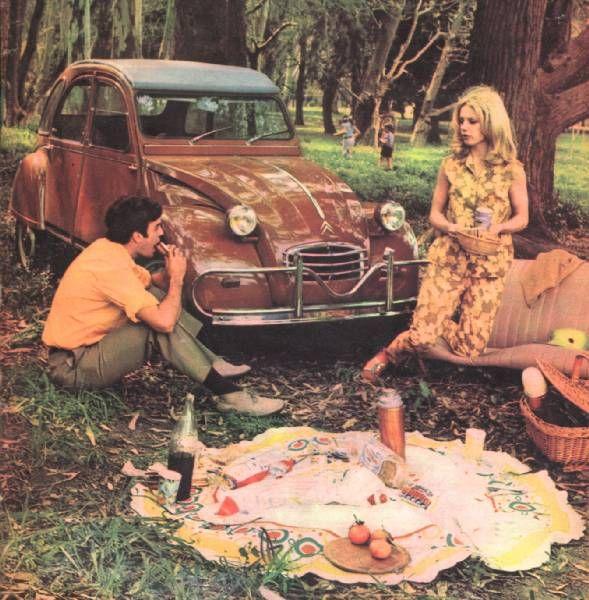 picnic with a citroen 2cvon remarque les clignotants rectangulaire et le pare