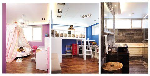 (왼쪽) 여자 아이들의 로망인 캐노피 침대를 놓은 딸아이 방. 원형 침대 덕분에 공간이 더 특별해졌다. / 방에서만 놀아도 재미가 가득한 벙커 스타일의 아들 방. / 라바스톤끄망이라는 천연석 소재의 타일과 히노키탕으로 고급스러운 느낌이 물씬 나는 욕실. 화이트 콘셉트의 2층과 달리 1층 침실은 방마다 컬러 콘셉트를 달리했다. 편안하면서도 미니멀한 스타일을 좋아하는 부부의 침실은 복잡한 장식물 대신 색다른 소재로 포인트를 주었다. 그리고 뉴트럴 컬러와 텍스처가 느껴지는 타일 아트월로 고급스럽게 마무리했다. 부부 욕실은 천연석으로 마무리하고, 가족 모두가 이용할 수 있는 히노키탕을 설치해 자연이 주는 편안함을 물씬 느낄 수 있도록 했다. 초등학생인 아이들 방은 핑크와 블루 등의 컬러감이 돋보인다. 방의 컬러와 가구, 이불까지 전부 아이들의 취향에 맞췄다.