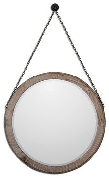 Loughlin Round Wood Mirror - mediterranean - Wall Mirrors - Fratantoni Lifestyles