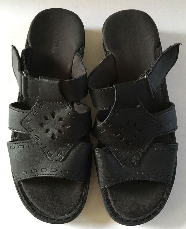 Clarks SZ 7 M Sandals Black Leather Slip-On Velcro Strap Shoes 81333 #Clarks #Slides #Casual