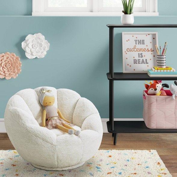 Kids Sherpa Tulip Swivel Chair Cream Pillowfort Kids Room Chair Toddler Chair Kids Reading Chair