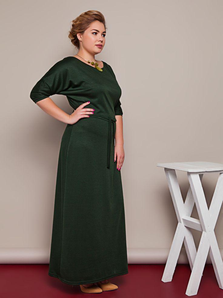 Трикотажное вечернее платье макси зеленого цвета. Платье для полных, прямое. Коллекция весна-лето 2016.