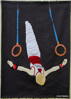 Fly Away - inspired by a photo of my eldest son Hugo (11), taken at the Australian Gymnastics Championships in Melbourne in May 2014 by a photographer of WinkiPop Media. Raw-edge appliqué and heavily machine quilted. 95 x 131cm (37 x 51.5 inch) - my largest art quilt so far.