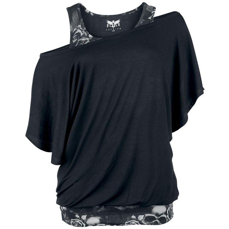 """- Fledermaus-Shirt - Double-Layer-Look - weiter Ausschnitt Egal ob auf der Arbeit, Familienfeier oder beim nächsten Mädelsabend dieses Oberteil ist einfach der Wahnsinn. Das schwarz/graue """"Bat Double Layer"""" Shirt gibt es exklusiv bei EMP. Das Fledermaus- Shirt hat einen weiten Ausschnitt und ist bis Größe 5 XL erhältlich. Besonders cool: Das Shirt ist zweiteilig und auch einzeln tragbar."""