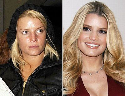 Jessica Simpson with and without makeup & photoshop