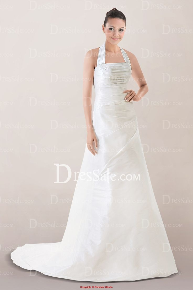 Concise Halter A-line Wedding Dress with Gentle Pleats