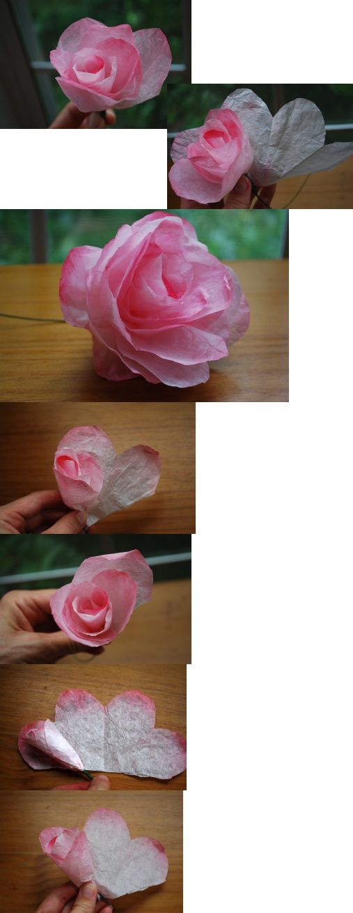 coffee filter roses- @Shelly, look familiar? I'm actually repinning from a friend's board (she and I went to elementary school together!). I was thinking...I've seen that before...what a teeny little world.