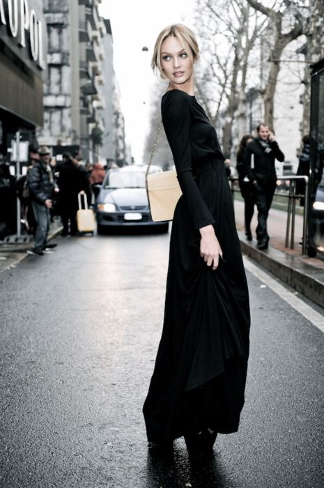 α զ ι ℓ α н ♕: Long Black Dresses, Maxi Dresses, Fashion, Candice Swanepoel, Street Style, Long Skirts, Black Maxi Skirts, Candiceswanepoel, Design Pur