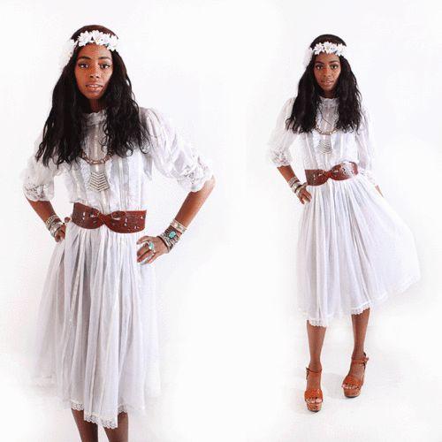 Vintage 70s Gunne Sax White Sheer Lace Gauze Wedding Mini Dress Boho ...