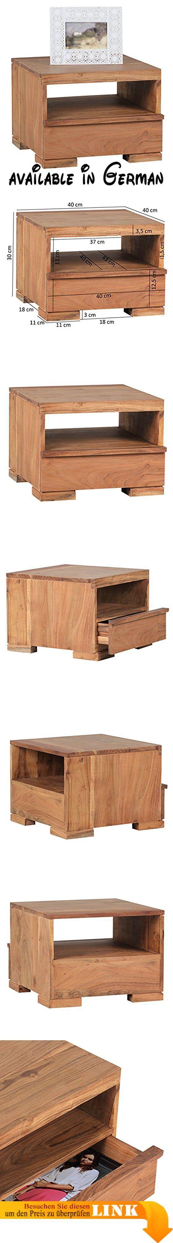 B013WQL67O : WOHNLING Nachttisch Massiv-Holz Akazie Nacht-Kommode 30 cm 1 Schublade Ablage Nachtschrank Landhaus-Stil Echt-Holz Nachtköstchen dunkel-braun Nacht-Konsole Natur-Produkt Schlafzimmer-Möbel Unikat. Schubladenkommode aus Sheesham Massivholz - Stilvolle Ablage neben dem Bett im Jugend- und Schlafzimmer. Da es sich um Handarbeit und um ein Naturprodukt handelt kann es zu Farbabweichungen oder Unebenheiten kommen - jeder Artikel ist ein Unikat - Handarbeit. FSC