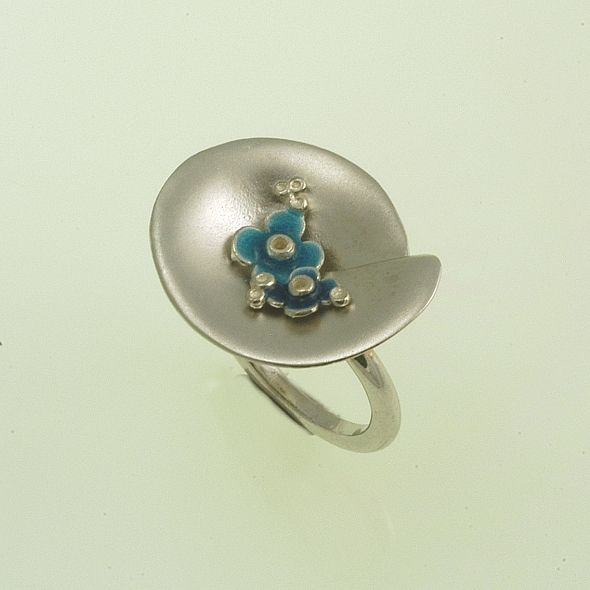 Ring Moonlight Iosif with plated Silver 925 & enamel.  Ring Code:3301.RG.1532.EN.01.001