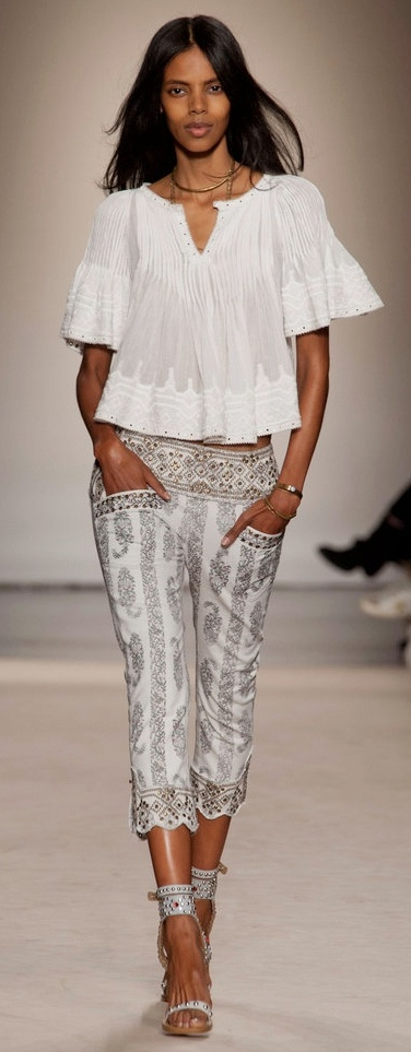 Loose, Cotton Top | Embellished, Printed Capri | Ankle Strap Heels| Isabel Marant Spring 2013