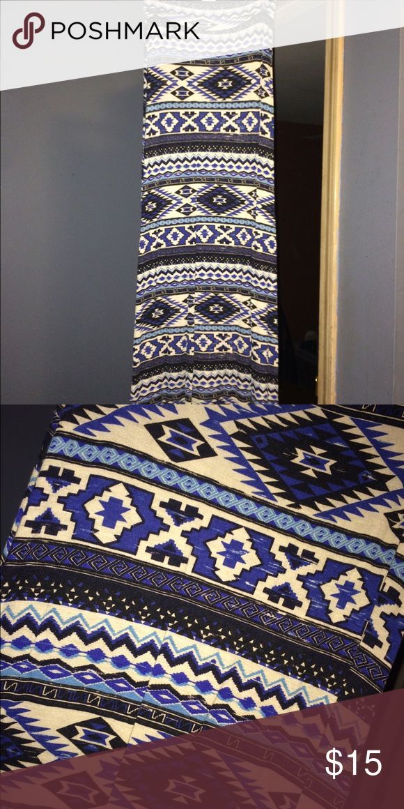 Blue Tribal Maxi Skirt Great condition, wore it once! Skirts Maxi