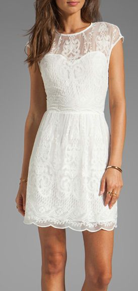 White lace dress. great rehearsal dinner dress