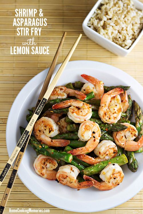 Shrimp and Asparagus Stir Fry with Lemon Sauce -- a quick & easy dinner, perfect for springtime #15MinuteSuppers