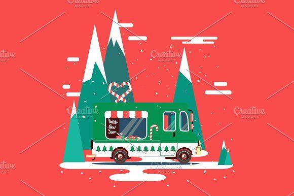 Christmas vector car illustration by Margarita art on @creativemarket #creativemarket #shutterstock #car #truck #vehicle #auto #flat #style #design #vector #vectors #illustration #illustrations #food #van