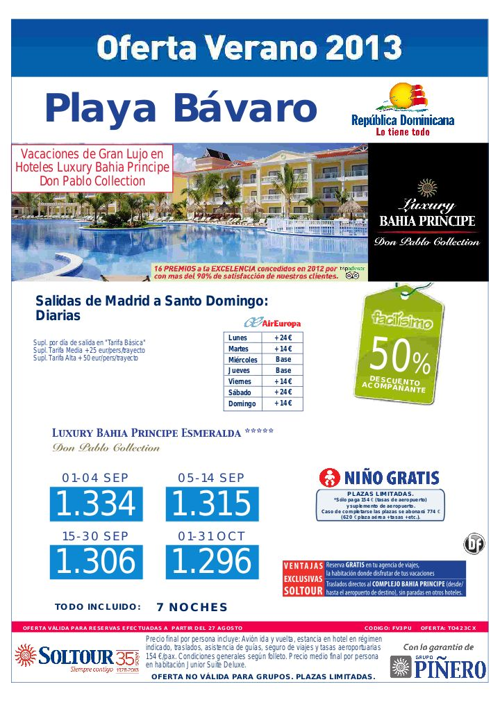 Playa Bávaro (Rep. Dominicana) 50% Grand Bahia Principe Esmeralda y Ambar (Vuelos Santo Domingo), salidas desde Madrid Sept-Oct - http://zocotours.com/playa-bavaro-rep-dominicana-50-grand-bahia-principe-esmeralda-y-ambar-vuelos-santo-domingo-salidas-desde-madrid-sept-oct/