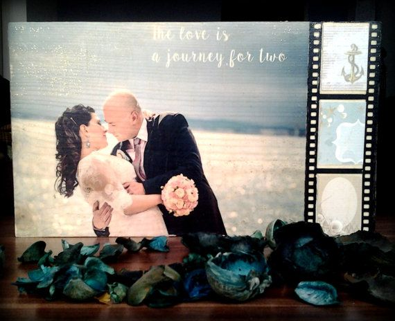 Your wedding photo on wood, custom made photo gift, photo transfer onto piece of wood, great wedding or  5-th year anniversary gift