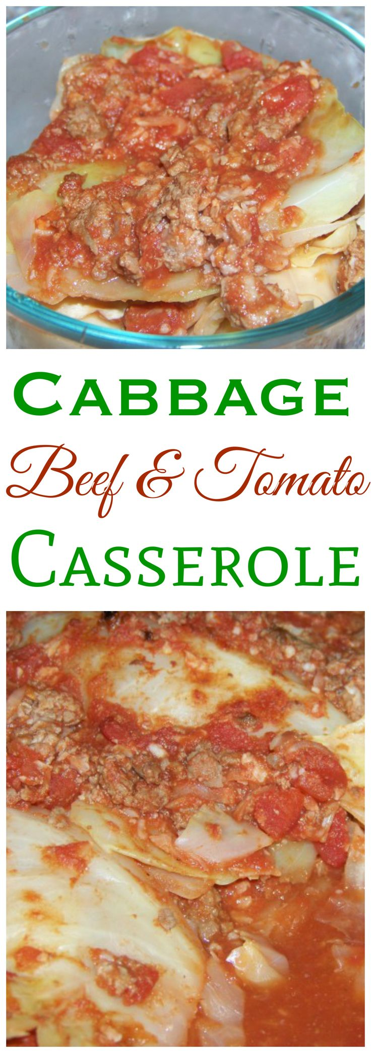 A simple low carb cabbage beef tomato casserole. This recipe bakes up in the oven so it can be prepared ahead and heated up just before serving.