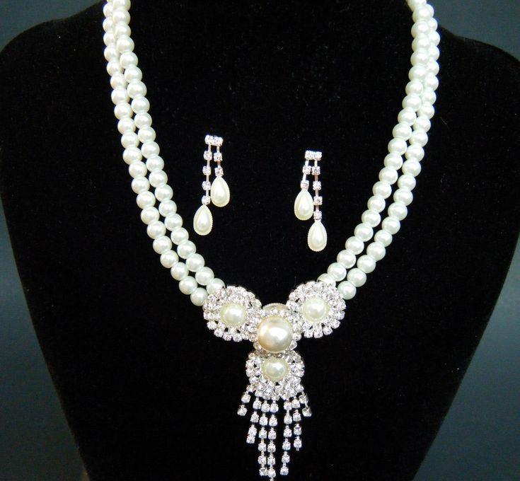 Jewelry Set Wedding Prom Cute Faux Pearl Rhinestone Earrings Necklace #classy #wedding #jewellery #fashion #luxury #lifestyle #bridali #bridesmaidjewelry #weddingjewelry #accessories #brides #bridesmaids #bridalparty #gems #pretty #stylemepretty #wardrobe #bridal #stylist #bridalstylist #styling #attire #bridalattire #thelook #mawbeauty #necklace #handmadenecklace #orchidnecklace #teardropnecklace #bridalnecklace